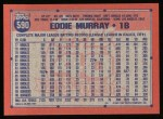 1991 Topps #590  Eddie Murray  Back Thumbnail