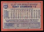 1991 Topps #625  Terry Steinbach  Back Thumbnail