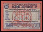 1991 Topps #698  Mark Guthrie  Back Thumbnail