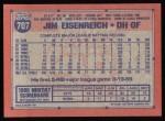 1991 Topps #707  Jim Eisenreich  Back Thumbnail