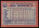 1991 Topps #772  Kent Mercker  Back Thumbnail