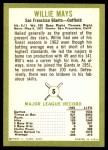 1963 Fleer #5  Willie Mays  Back Thumbnail