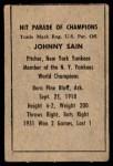 1952 Berk Ross  Johnny Sain  Back Thumbnail