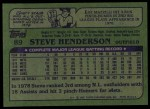 1982 Topps #89  Steve Henderson  Back Thumbnail