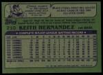 1982 Topps #210  Keith Hernandez  Back Thumbnail