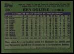 1982 Topps #280  Ben Oglivie  Back Thumbnail