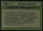 1982 Topps #341   -  Andre Dawson All-Star Back Thumbnail