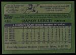 1982 Topps #466  Randy Lerch  Back Thumbnail