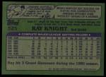 1982 Topps #525  Ray Knight  Back Thumbnail