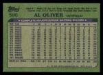 1982 Topps #590  Al Oliver  Back Thumbnail