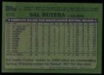 1982 Topps #676  Sal Butera  Back Thumbnail