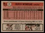 1981 Topps #61  Butch Wynegar  Back Thumbnail