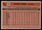 1981 Topps #102  Dave Tobik  Back Thumbnail