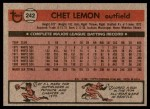 1981 Topps #242  Chet Lemon  Back Thumbnail