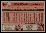 1981 Topps #581  Roy Howell  Back Thumbnail