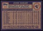 1984 Topps #86  John Shelby  Back Thumbnail