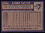 1984 Topps #108  Randy Moffitt  Back Thumbnail