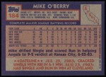 1984 Topps #184  Mike O'Berry  Back Thumbnail