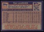 1984 Topps #363  Tim Laudner  Back Thumbnail