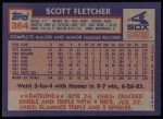 1984 Topps #364  Scott Fletcher  Back Thumbnail
