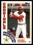 1984 Topps #386   -  George Hendrick All-Star Front Thumbnail