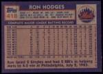1984 Topps #418  Ron Hodges  Back Thumbnail