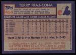 1984 Topps #496  Terry Francona  Back Thumbnail