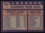 1984 Topps #717   -  Rollie Fingers / Jim Palmer / Ron Guidry AL Active ERA Leaders Back Thumbnail