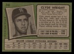 1971 Topps #240  Clyde Wright  Back Thumbnail