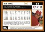 2002 Topps #13  Bobby Abreu  Back Thumbnail