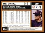 2002 Topps #20  Mike Mussina  Back Thumbnail