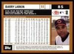 2002 Topps #85  Barry Larkin  Back Thumbnail