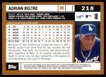 2002 Topps #218  Adrian Beltre  Back Thumbnail