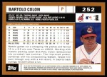 2002 Topps #252  Bartolo Colon  Back Thumbnail