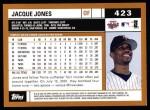 2002 Topps #423  Jacque Jones  Back Thumbnail