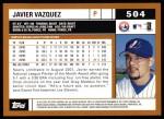 2002 Topps #504  Javier Vazquez  Back Thumbnail