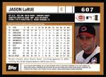 2002 Topps #607  Jason LaRue  Back Thumbnail