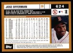 2002 Topps #624  Jose Offerman  Back Thumbnail