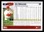 2005 Topps #17  Jim Edmonds  Back Thumbnail