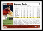 2005 Topps #506  Brandon Backe  Back Thumbnail