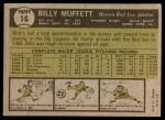 1961 Topps #16  Billy Muffett  Back Thumbnail