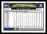 2008 Topps #1  Alex Rodriguez  Back Thumbnail