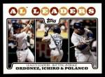 2008 Topps #15   -  Magglio Ordonez / Ichiro Suzuki / Placido Polanco AL Batting Leaders Front Thumbnail