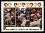 2008 Topps #24   -  Alex Rodriguez / Magglio Ordonez / Vladimir Guerrero AL RBI Leaders Front Thumbnail