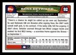 2008 Topps #92  Ross Detwiler  Back Thumbnail