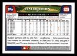 2008 Topps #125  Tim Hudson  Back Thumbnail