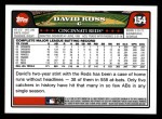 2008 Topps #154  David Ross  Back Thumbnail