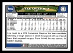 2008 Topps #211  Lyle Overbay  Back Thumbnail