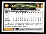 2008 Topps #462  Freddy Sanchez  Back Thumbnail