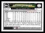 2008 Topps #486  Javier Vazquez  Back Thumbnail